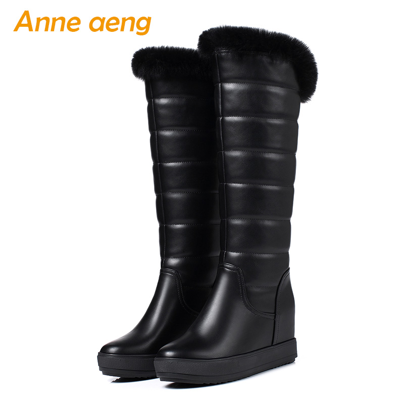 2018 New Winter Women Snow Boots Wedge Hidden Heel Round Toe Rabbit Fur Slip-On Casual Women Platform Shoes Black Mid-Calf Boots fashion new ladies non slip winter women casual warm fur mid calf boots women flat round toe slip on snow boots women mujer w172
