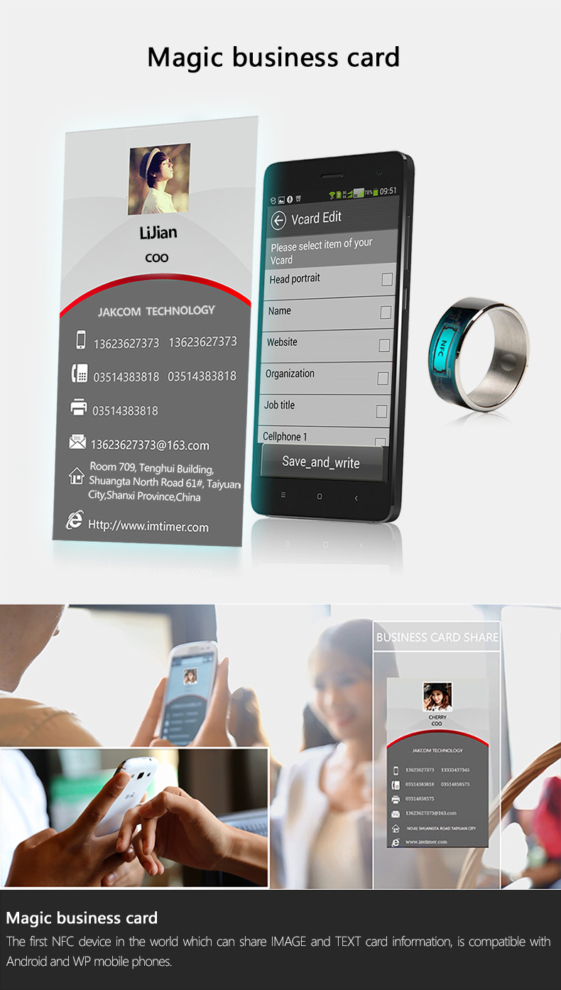 Smart Ring Wearble Devices Electronic Magic Finger Ring with Dual Core Hign  Speed NFC for Android window NFC phones