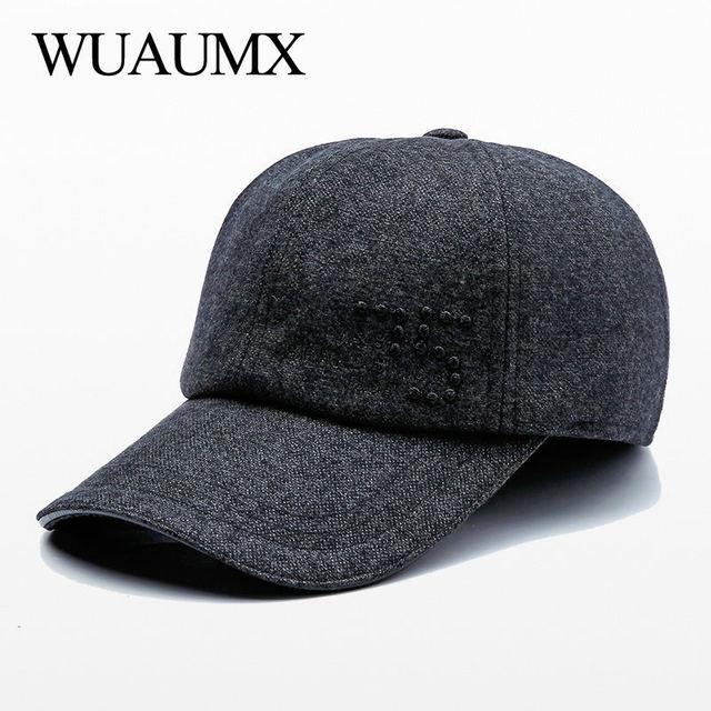 Wuaumx marca de lujo Otoño Invierno orejeras Cap Hombres Calientes orejeras  gorras de béisbol para hombre orejera protección Dad sombreros Casquette a691d38ada6
