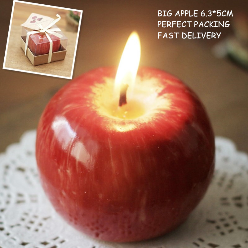 romantic christmas gift apple candle 6 3 5cm with perfect. Black Bedroom Furniture Sets. Home Design Ideas