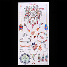 1PC Colorful Waterproof DIY Tattoo Flash Silver Metal Cool Women Henna Dreamcatcher Arrow Decal Temporary CM-T036 Tattoo Sticker