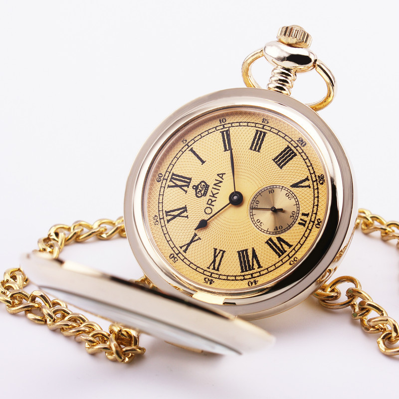 Orkina Retro Pocket Watch Roman Golden Dial Glass Lid Carved Case Sub dial Quartz Delicate Pendant