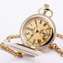 Orkina ретро карманные часы золотой циферблат стеклянной крышкой резные чехол суб — набрать кварц нежный шкентель портативный удобный платье 31