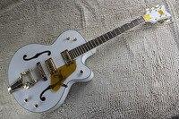 Personalizada de fábrica Branco Gretsch Falcon 6120 Semi Corpo Oco Jazz Tuners Guitarra Elétrica Com Bigsby Tremolo Coreano com hardcase