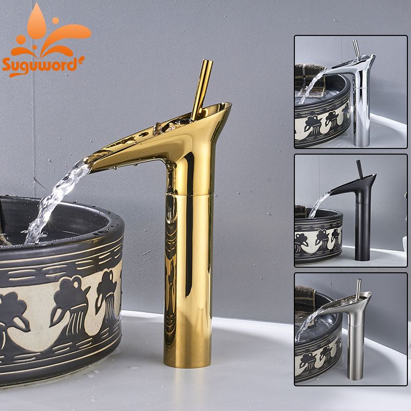 Brushed Nickel Chrome ORB Gold plated Faucet Bathroom Sink Faucet Single Handle Waterfall Basin Hot and Cold Water Mixer Tap xoxo modern bathroom products chrome finished hot and cold water basin faucet mixer single handle water tap 83007