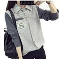 2016 Nova Outono Inverno Blusa Lapela Camisa de Manga Longa Listrada Patchwork Pockets Mulheres Blusas Blusas Femininas Encabeça Femme