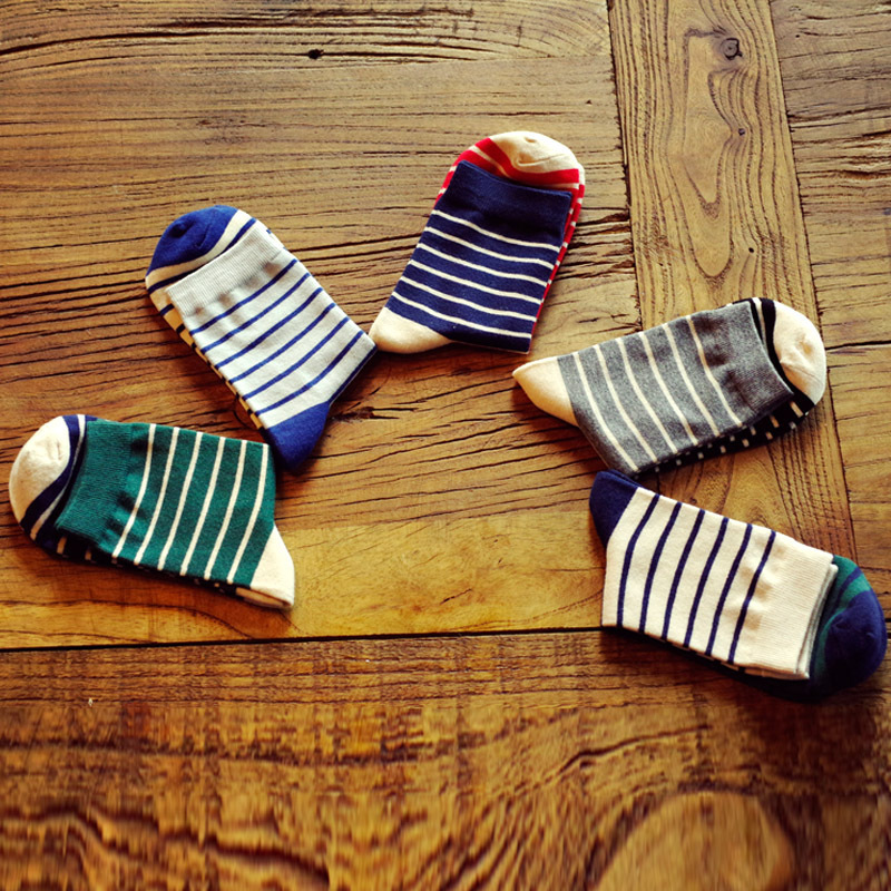 Men Colours Stripe Partchwork Exercise Knee-High Socks Male Fashion All-match Business Casual Cotton Breathability Funny Sock
