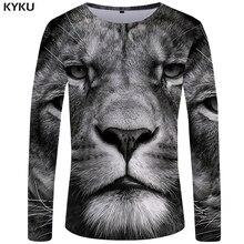 KYKU Brand Lion T shirt Men Long sleeve Gray Anime 3D Printed Tshirt Animal Rock Funny shirts Clothes Mens Clothing