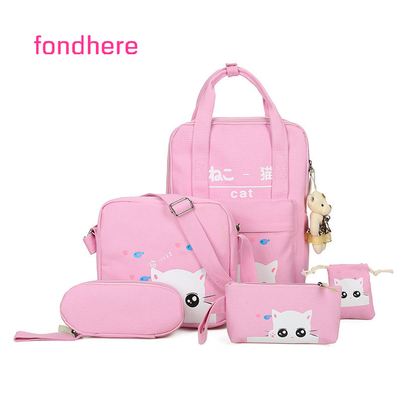 fondhere 5 Pcs/set Women Backpack Set Cute Cat Printing Canvas School Bag For Girls Female Travel Backpacks Set With Gift Bear