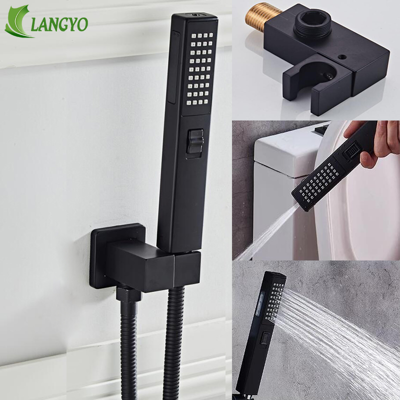 Bathroom Accessories Black Wall Brass Shower Mounting Brackets Black Shower&spray 2 Function Handheld Sprinkler Balck 150CM Hose