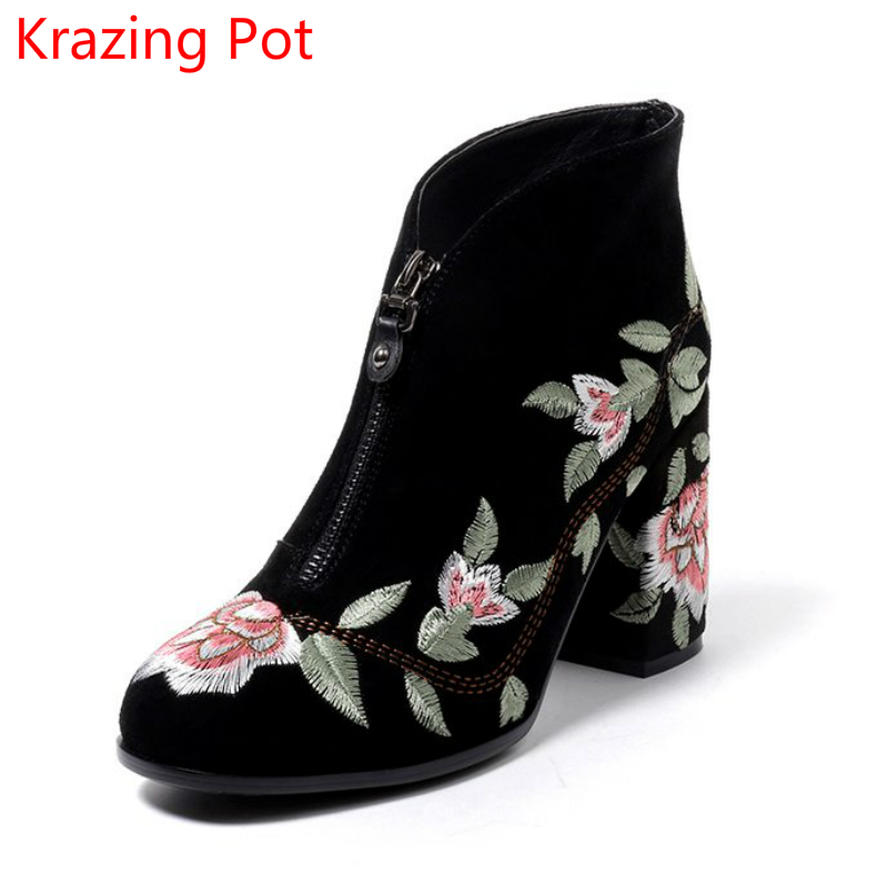 New Arrival High Street Genuine Leather Embroidery Fashion Winter Shoes Runway Boots High Heel Zipper Warm Women Ankle Boots L11 new fashion diamond embroidery genuine