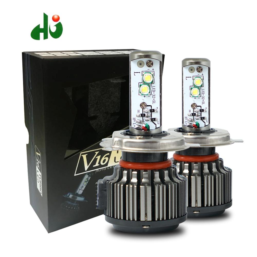 HJ V16 Turbo 40w 80w 4500lm 3600lm H4 hi/lo H1 H3 H7 H10 H11 H13 9005 9006 9007 XHP50 Chips car led headlight kit Free Shipping