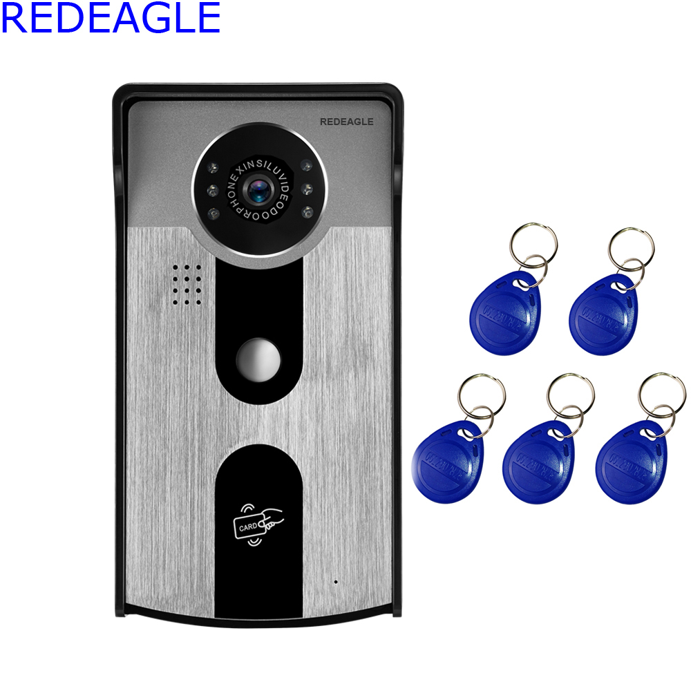 REDEAGLE 720P Wireless Wifi Video Doorbell Door Phone Intercom System HD Smart Camera with RFID Access Card Support Android iOS rfid reader wifi 720p hd video doorbell intercom phone camera for android ios phone with electric strike lock for door access