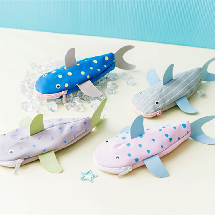 Creative Shark Canvas Large Capacity Pencil Case Stationery Storage Organizer Bag School Office Supply Student Pen Box