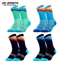 DH спортивные Pro Лучшие спортивные носки, ветрозащитные Coolmax теплые погодные высокие велосипедные носки, сумасшедшие баскетбольные Беговые Спортивные носки