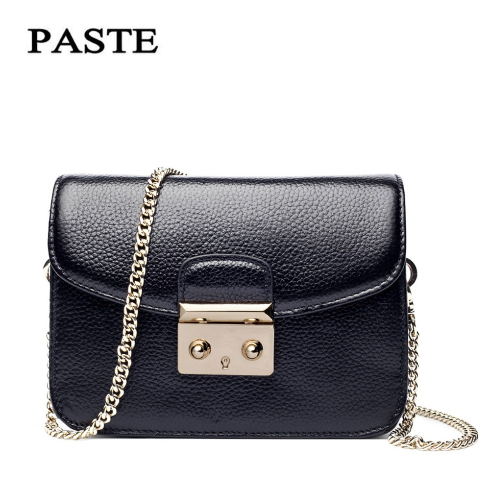 2017 Brand Fashion Chain Lock Small Square Flap Bag Summer Messenger Bags Head Layer Cowhide Leather Women's Handbags PASTE shoulder messenger mini candy bag small square package 2017 summer fashion handbags women messenger bags tide packet chain bag