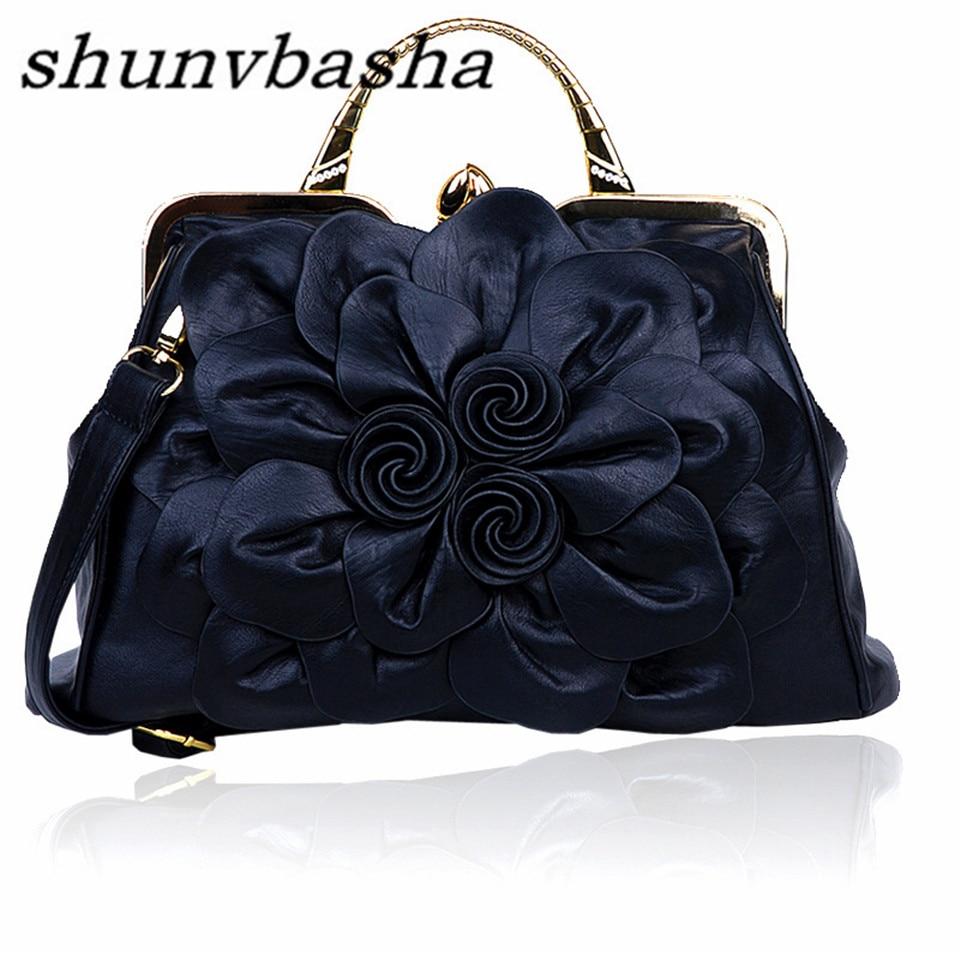 ФОТО Charm in hands Big Flower Women Leather Handbags Famous Brands Tote Luxury Women Messenger Bags Lady Bolsa Pouch Handbags