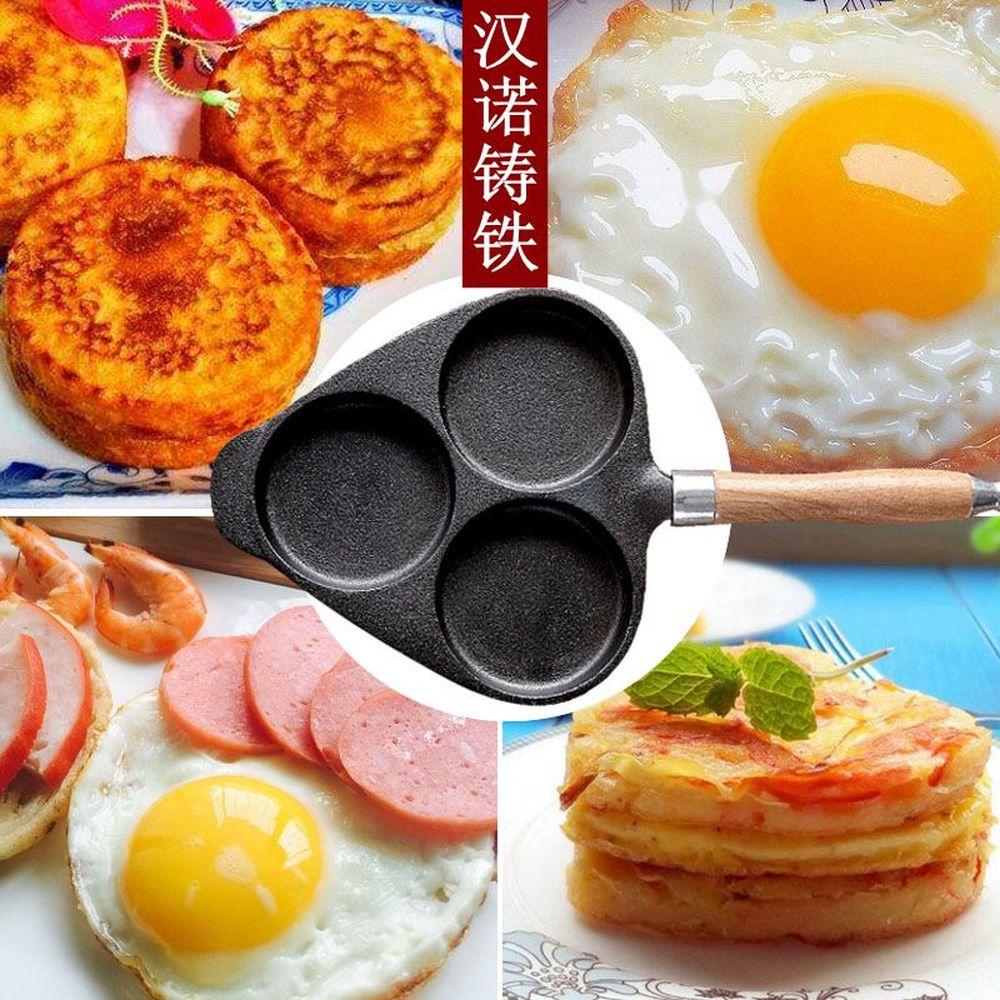 Moule à omelette en fonte à trois trous moule à gâteau omelette sans revêtement wx9131731 - 4
