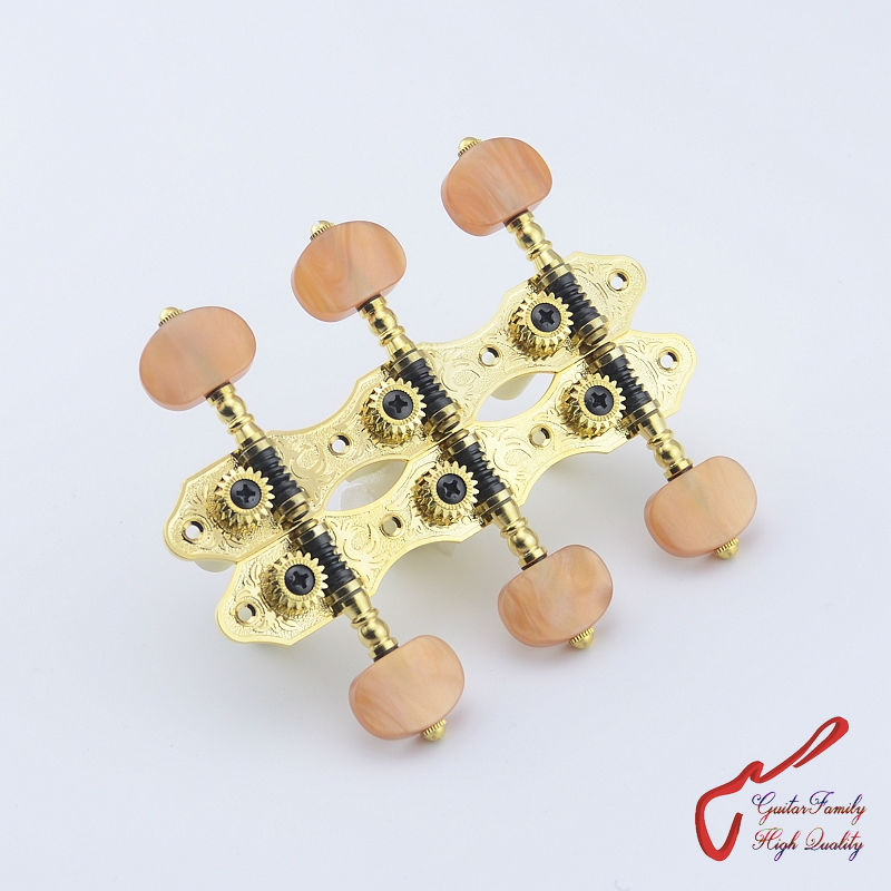 1Set High Quality GuitarFamily Classical Guitar  Machine Heads Tuners  Gear ratio - 1:18  Gold MADE IN TAIWAN 2x classical guitar 3l3r mica color rectangle button professional tuners