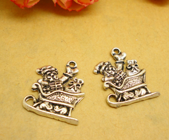 Charms Jewelry & Accessories Cheap Sale 100pcs Sledding Of Santa Claus Fine Fashion Charms Antique Silver Handmade Jewelry Earring Bracelet Necklace Keychain Diy