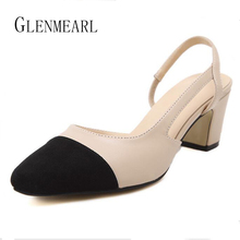2019 New Spring Thick With Heel Women Sandals Shoes Mixed Colors Leather Flock Round Toe Square Strap Heel Women Single Pumps40