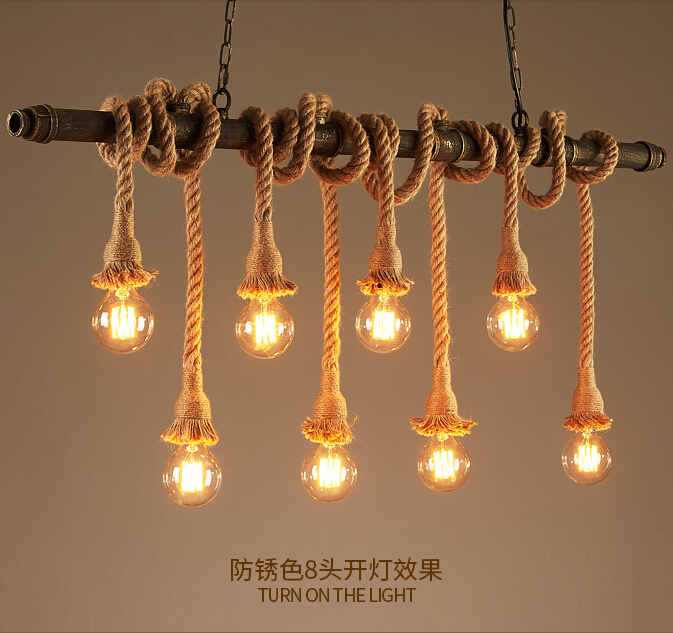 Retro Water Pipe Lamp Vintage Pendant Light Hemp Rope Loft Industrial Lighting Bar Cafe Light Fixtures
