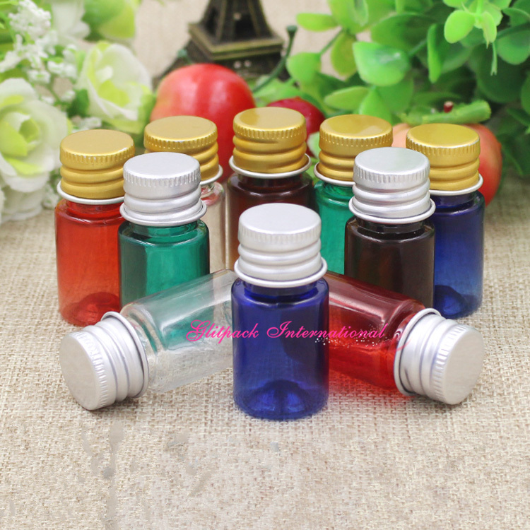 100pcs lot blue green red amber 5ml PET bottles with Gold Silver Aluminum Lids plastic vials