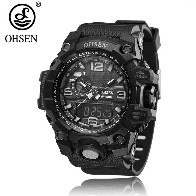 a5dfeb80f5 Top Sale Fashion OHSEN Digital Sport Watch Men Quartz 50M Swim Wristwatch Rubber  Band Waterproof LCD