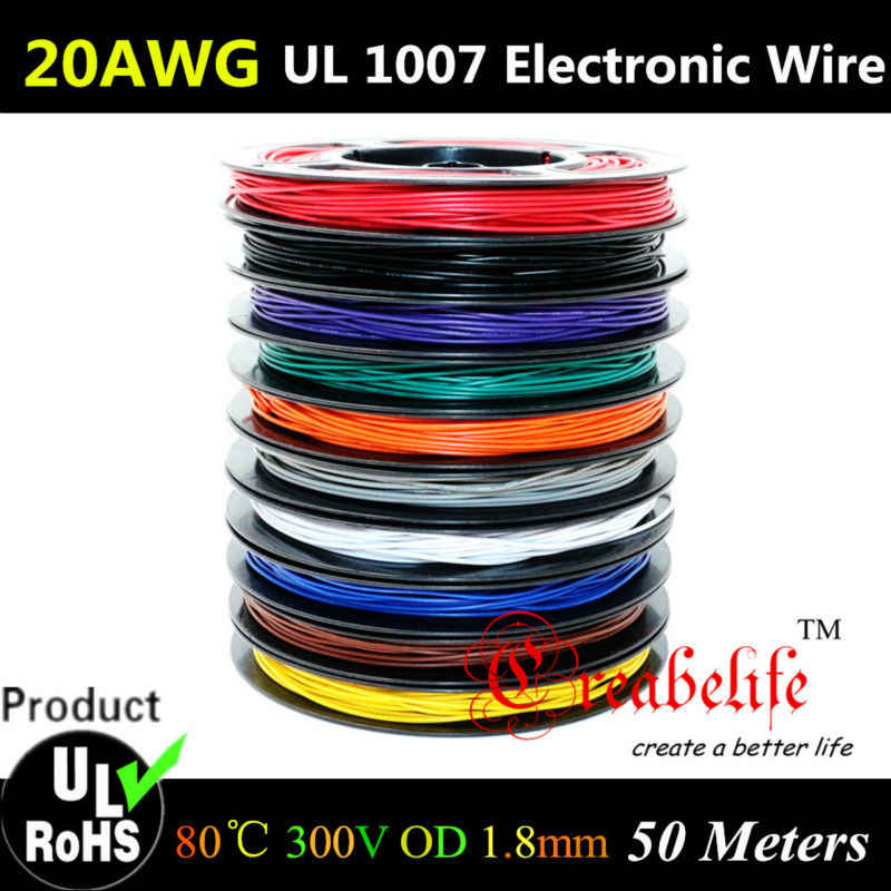 50 미터/롤 20 awg-유연한 좌초 10 색 ul 1007 직경 1.8mm 전자 와이어 도체 diy