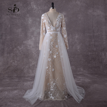 Lace Wedding Dress 2018 Long Sleeves Champagne A-line Vintage Detachable-Train Romantic Bridal Gown