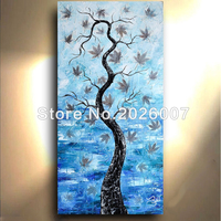 Water Pond Art Maple Leaf Hand Painted Landscape Thick Palette Knife Oil Painting On Canva Modern Home Decoration Living Room
