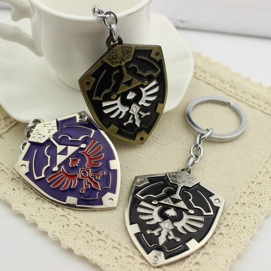 1 Pcs The Legend of Zelda Shield Keychain Cosplay Game Props Fashion Metal Alloy Keychain