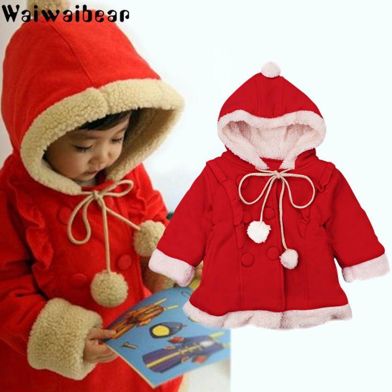 Baby kids Coats Christmas Winter Girls Hooded Warm Outwear Jacket  Kids Clothes