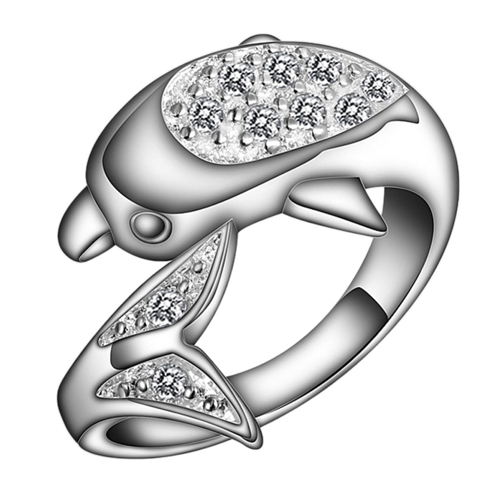 Noble Luxury Elegant Charm Zircon Dolphin Crystal Rings New Design Silver Plated New Fashion Drop Shipping