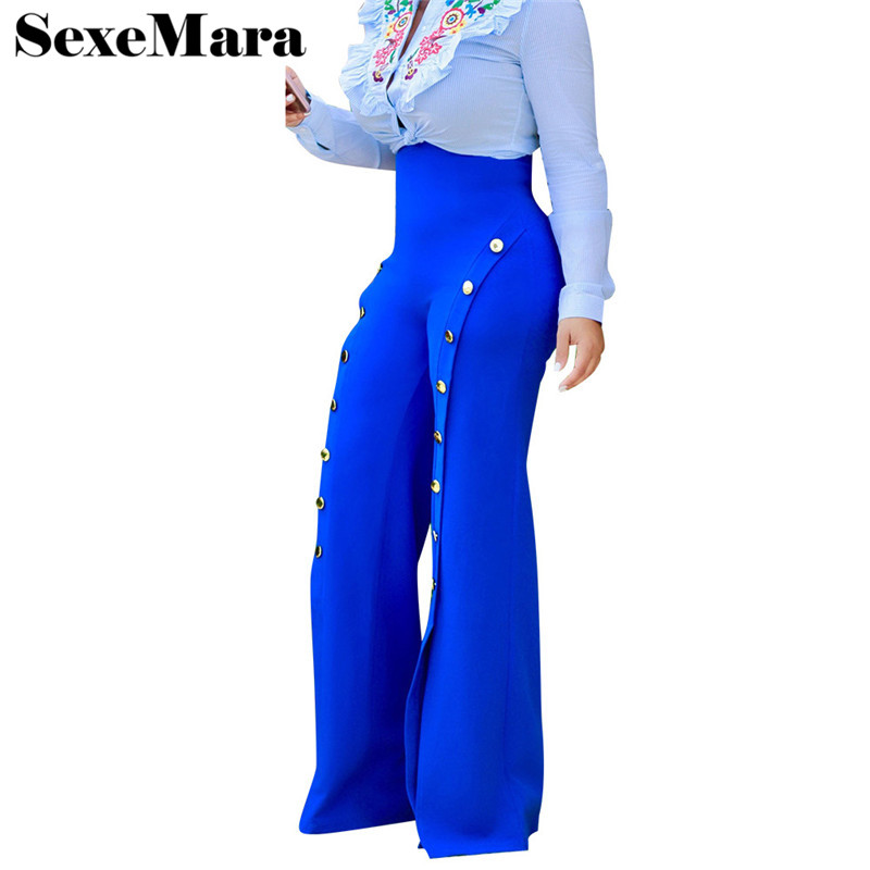 2019 fashion side button palazzo   pants   women high waist flare   pants   summer trousers sexy split loose   wide     leg     pants   D43-AD-31