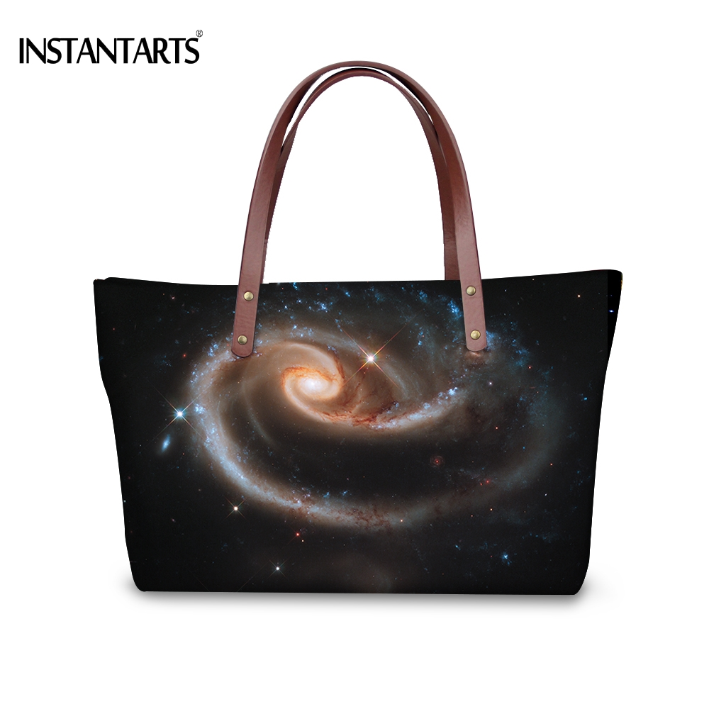 INSTANTARTS Paisley Galaxy Printed Women Large Capacity Shoulder Bag Sky Universe Female Tote Bag Travel Shopping Top Handle Bag