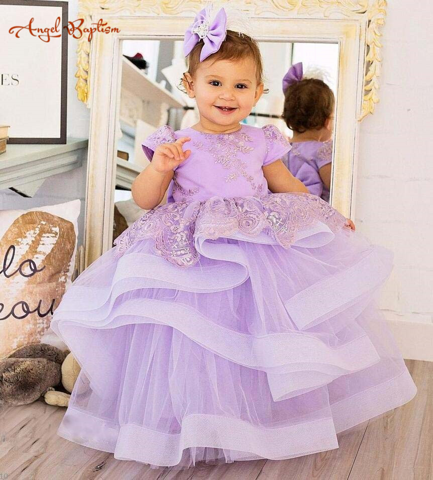2018 new purple lilac lace flower girl dresses puffy tiered tulle ball gown Toddler Pageant performing gown baby Birthday outfit silver gray purple pink blue ball gown tutu soft tulle puffy flower girl dress baby 1 year birthday dress with spaghetti straps