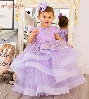 2018 nueva púrpura Lila encaje flor chica vestidos puffy tul balón vestido del Desfile del niño rendimiento del equipo del cumpleaños del bebé