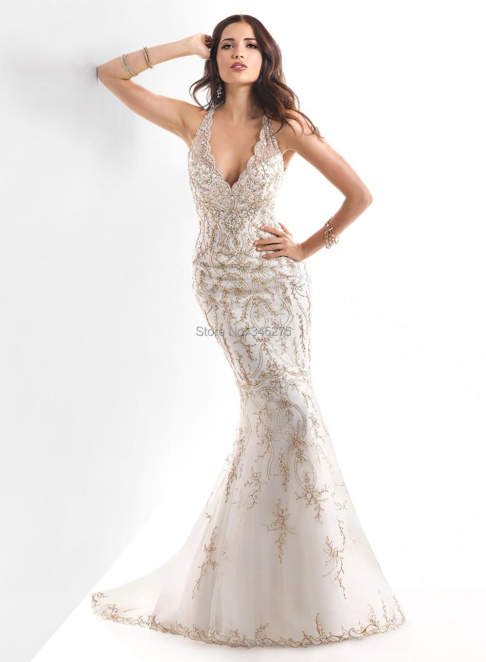 Ivory gold embroidery beading illusion v neckline wedding for Wedding dresses with gold beading