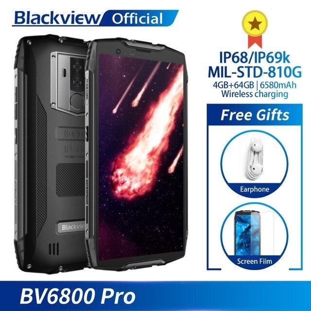 """Blackview BV6800 Pro Android 8,0 мобильный телефон 5,7 """"MT6750T Octa Core 4 ГБ + 64 ГБ 6580 мАч Беспроводной зарядное устройство NFC Водонепроницаемый смартфон"""