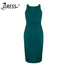 INDRESSME Free Shipping 2017 New Women's Green Stretch Suede Bodycon Dress Hollow  Cut  Backless Vintage Dress