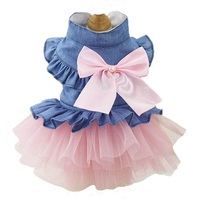 Modes suns kāzu kleita Jean vasaras suņu apģērbs Cute Bow Princess kucēns svārki Chihuahua