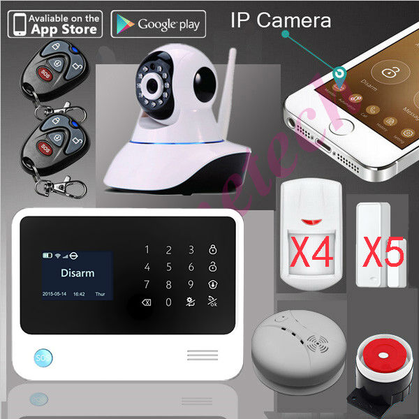 G90B WIFI GSM alarm system with smart app,Wifi home security Alarm System+SMS alarm support IP camera+smoke senser fire alarm