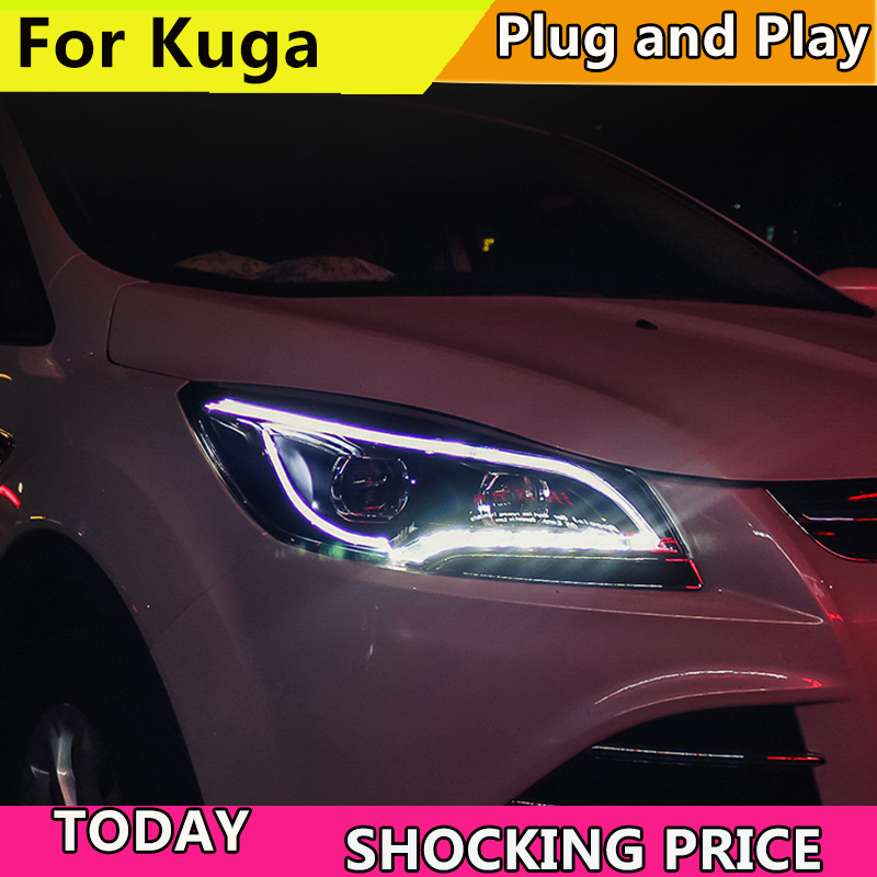 Car Head Lamp Case For Ford Escape Headlights 2013-2015 Kuga LED Headlight DRL Lens Double Beam HID Xenon bi xenon lens Front auto lighting style led head lamp for mazda 3 axe headlights for axela led angle eyes drl h7 hid bi xenon lens low beam