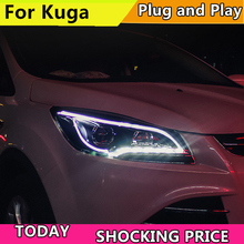 Car Head Lamp Case For Ford Escape Headlights 2013-2015 Kuga LED Headlight DRL Lens Double Beam HID Xenon bi xenon lens Front