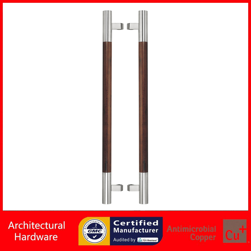 Black Solid Wood Entrance Door Pull Handle Made of 304 Stainless Steel + Peach Wood Available For All kinds Of Doors PA-202 1 pair 4 inch stainless steel door hinges wood doors cabinet drawer box interior hinge furniture hardware accessories m25