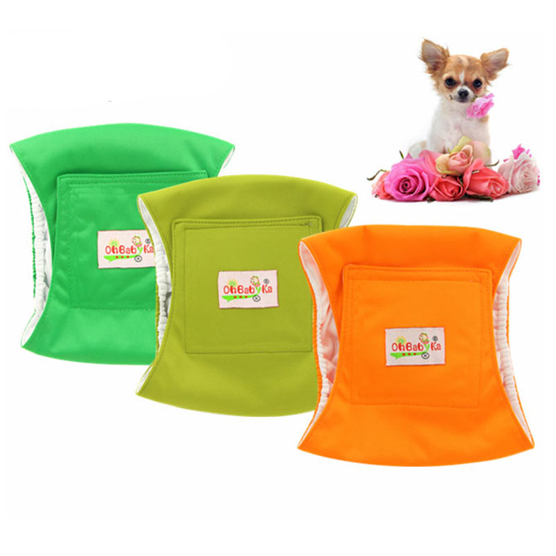 Paquet de 3 couches pour chien Ohbabyka couches lavables en tissu pour chien pour chien masculin enveloppes physiologiques sanitaires imperméables sous-vêtement pour animaux de compagnie pantalons (lot de 3)