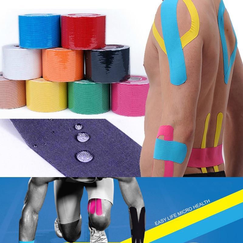 5 cm x 5 m Sport Nastro Kinesiologia Kinesio Rotolo Cotone Elastico Adesivo Muscolo Fasciatura Strain Injury Supporto adesivi Muscolari HW029