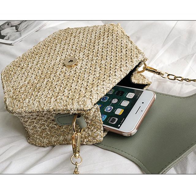 Casual Hexagon Weaving Straw Bags Women Shoulder Bags Ladies Tassel Chain Messenger Bag Pu Leather Patchwork Female Handbags Sac