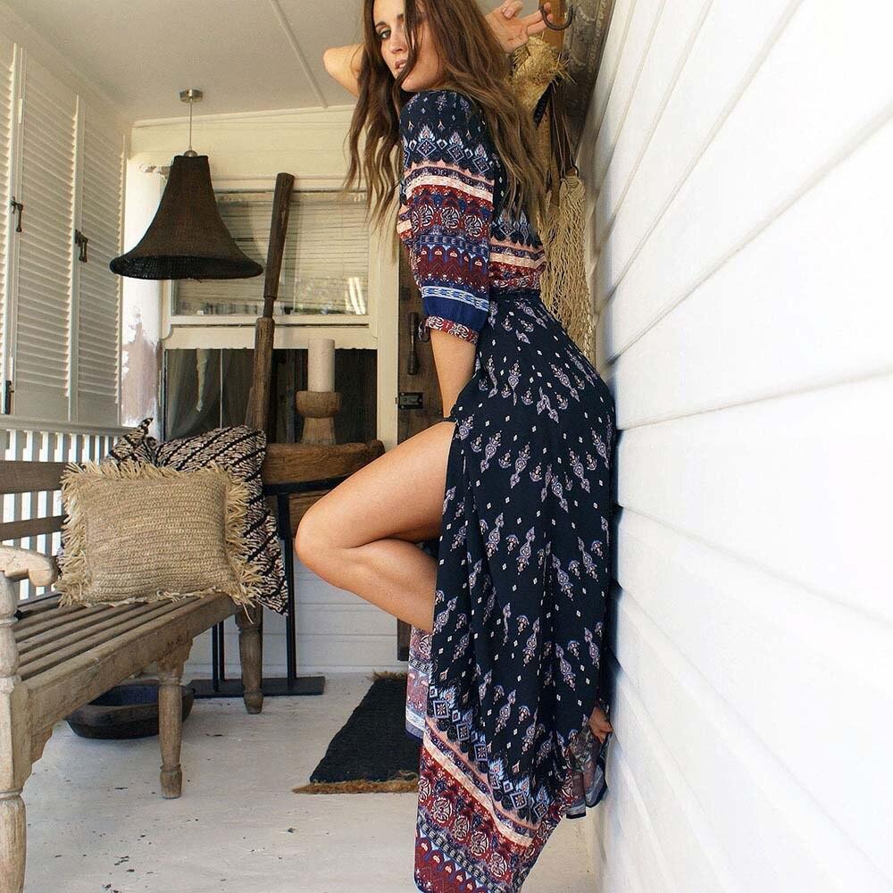 3XL Boho Ethnic Summer Langes Maxi Kleid Frauen Sexy V-ausschnitt - Damenbekleidung - Foto 3
